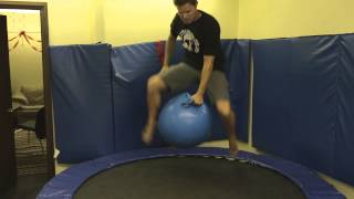 Trampoline + Exercise ball = Accident waiting to happen