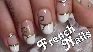verzierte french n gel schn rkel hochzeit nageldesign wedding nails. Black Bedroom Furniture Sets. Home Design Ideas