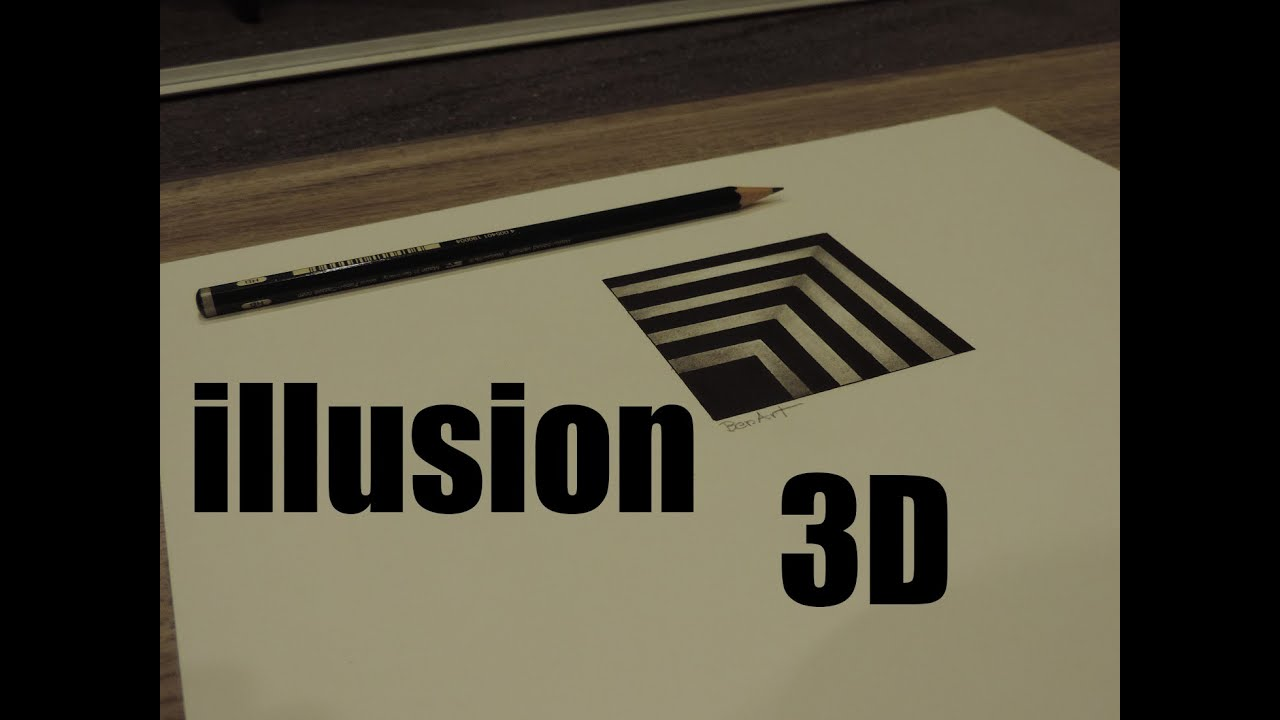 illusion d 39 optique dessin en 3d youtube. Black Bedroom Furniture Sets. Home Design Ideas