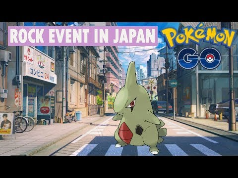 Pokemon go in Japan new rock event, catching rare larvitar and gym battle.