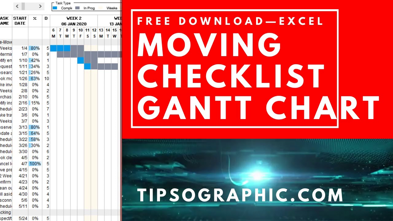 Moving Checklist Template with Gantt Chart for Excel, Free Within Business Relocation Plan Template