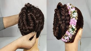 Simple Gajra hairstyle for wedding/party || bridal Gajra hairstyle || Hair style girl ||  hairstyles