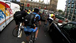 cyclist and taxi bust up