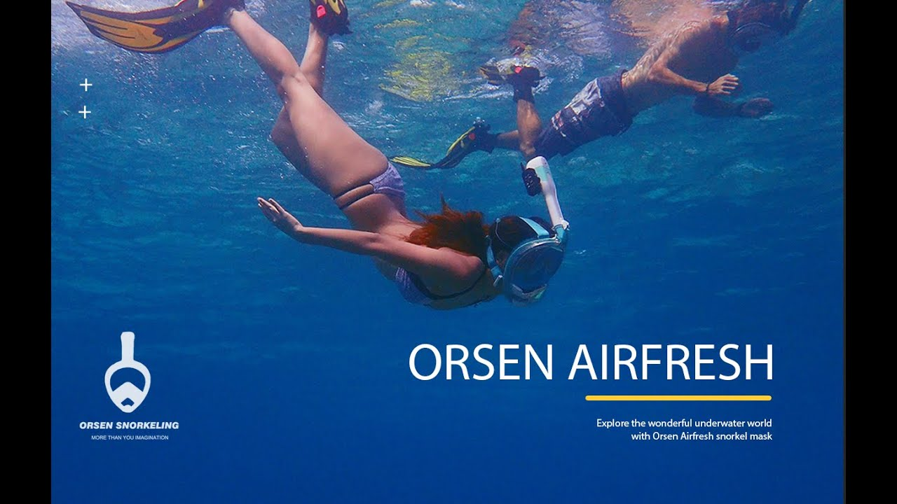 ORSEN World's First Full Face Snorkel Mask with Patented AIRFRESH System & Walkie Talkie-CO2 Safety