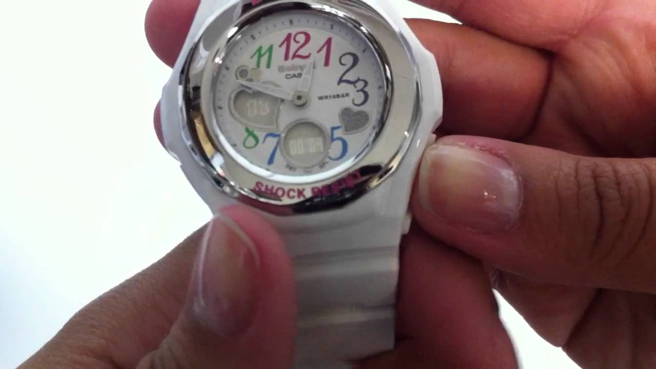 Women s White Baby-G Analog Digital Watch BGA101-7B - YouTube 8385363deb22