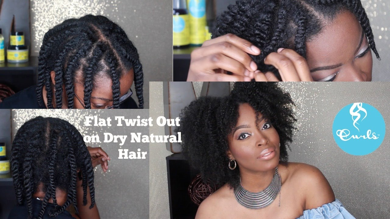 Flat Twist Out On Dry Natural Hair Using Blueberry Bliss Collection