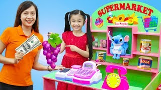 Hana Pretend Play w/ GIANT Supermarket Grocery Toy Store for Kids