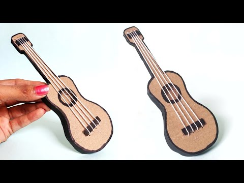 mini-guitar-making-from-cardboard-|-diy---showpiece-|-craft-ideas-from-waste-|-best-out-of-waste
