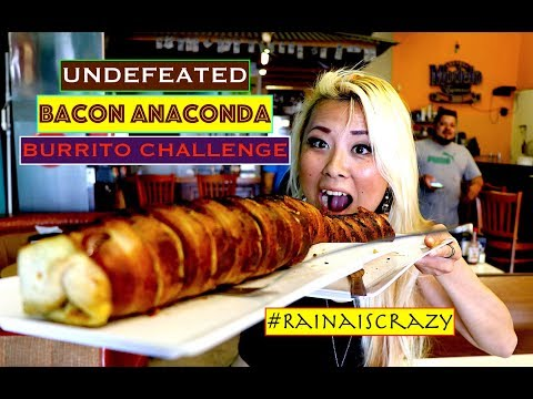 UNDEFEATED BACON ANACONDA BURRITO CHALLENGE | 2nd Challenge on the Same Day | RainaisCrazy