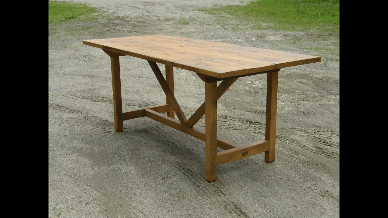Trestle base hemlock table with mortise and tenon joinery