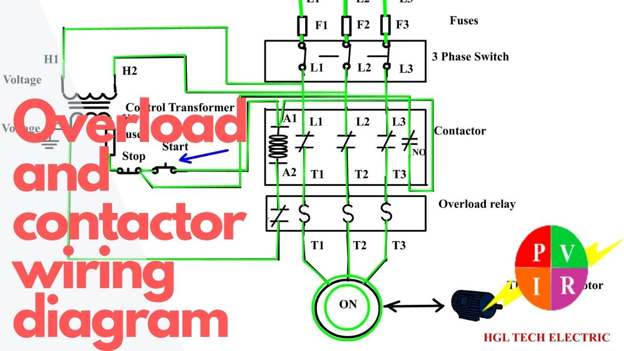 how to wire a contactor and overload  start stop 3 phase motor control