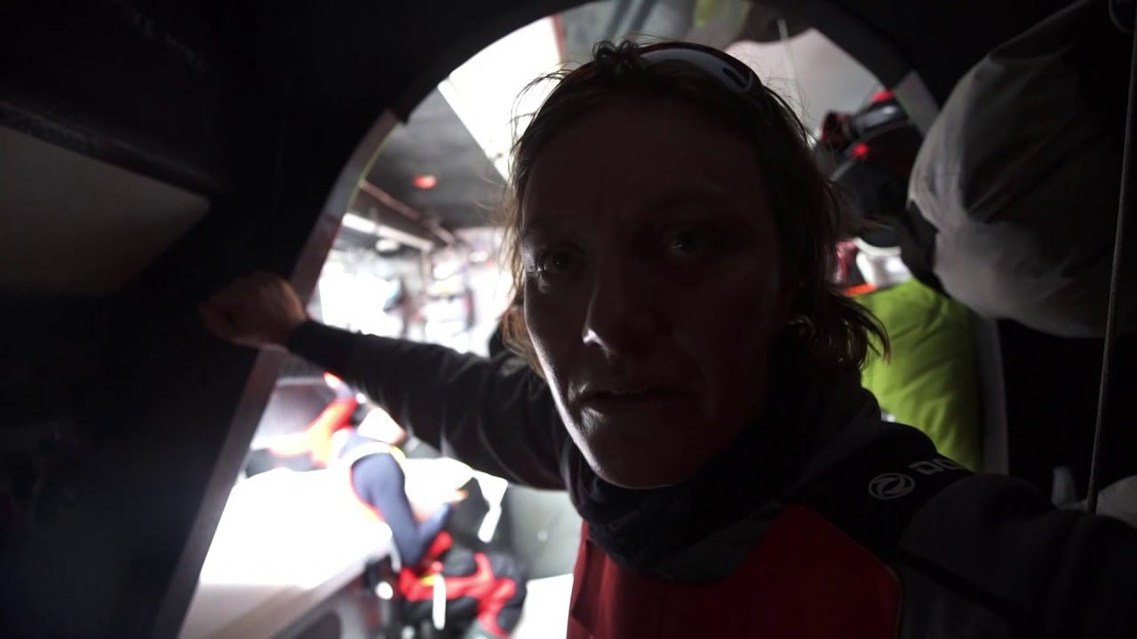 Marie, below: Big surprise at the end because we took a different option from Brunel and MAPFRE. So we don't know for the moment. We will have a position report in 40 minutes, so we will see how they are going. So a bit stress, eh? We cross the finger. We have good wind at the moment. We hope they don't have the same. So we wait and we wait. Horace: Almost 42 nautical miles to the finish. Hopefully the weather forecast is like they say, the offshore choice will have less wind. So we can have a chance to overtake them. We still fight for that, and try everything we can, push the boat faster to have the best VMG speed to arrive the finish line. Everything will be happening at the finish line. Always believe it.