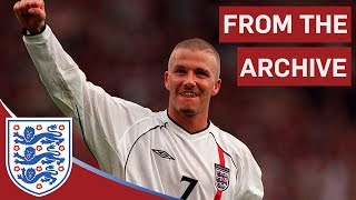 David Beckham's free kick against Greece(Subscribe to FATV: http://bit.ly/FATVSub A classic moment when England captain David Beckham scores with a sensational 30-yard free kick, three minutes into ..., 2009-10-13T18:08:21.000Z)