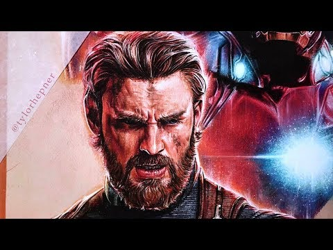 Drawing Captain America - Avengers Infinity War Poster (PART 10) | Time-lapse Speed Drawing |
