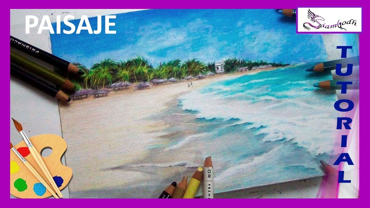 Como Dibujar Playa Tutorial Con Lapices De Colores Youtube