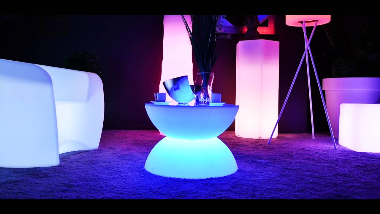 table basse lumineuse led multicolore full moon by youtube. Black Bedroom Furniture Sets. Home Design Ideas