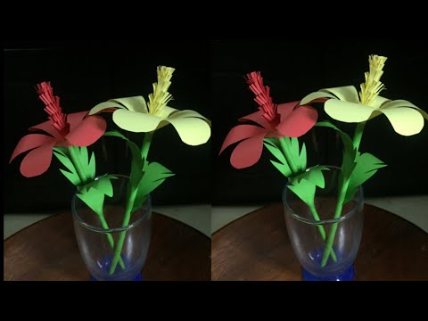DIY Stick Flower Making With Color Paper | Stick Paper Flower For Home Decor | DIY-Beauty Of Paper