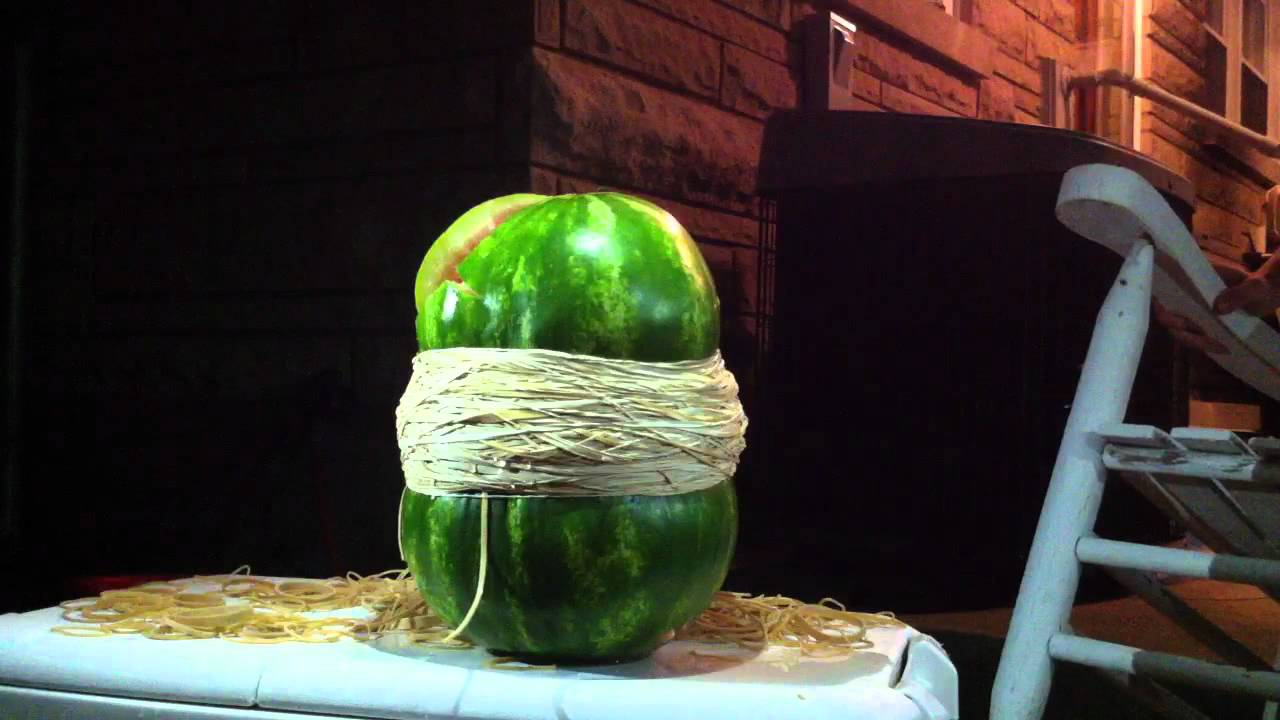 Exploding Watermelon With Rubber Bands Youtube