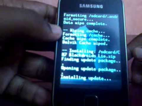 installin CM7 blackdroid lie in samsung galaxy y on the basis of white kernel.