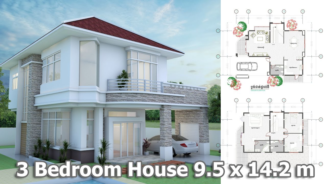 Amazing Home Design 3d Modern Home Plan 9.5 X 14.2m