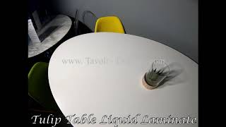 Video: 140 x 80 cm oval Tulip table  - Liquid laminate