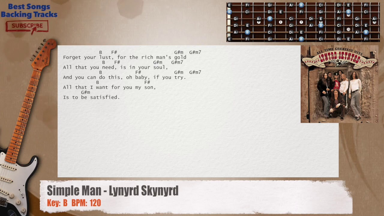 Simple Man Lynyrd Skynyrd Guitar Backing Track With Chords And
