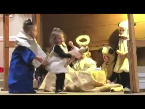 See Little Kid Hilariously Steal Baby Jesus From Manger!