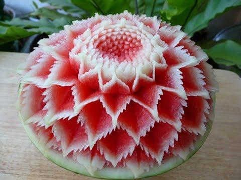 แกะสลัก แตงโม ลายผีเสื้อ 3,simple watermelon carving 3,carving lessons