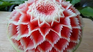 Repeat youtube video แกะสลัก แตงโม ลายผีเสื้อ 3,Watermelon carving 3,flower watermelon