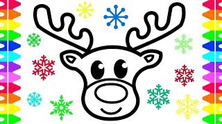 How to Draw Step by Step For Beginners- Christmas Coloring Page! Reindeer|Christmas Tree| Stocking