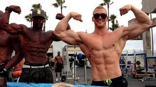 A day in venice beach: flexing at muscle beach, golds gym and stuff