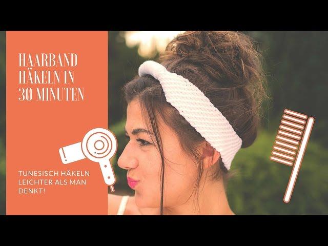 Haarband / Stirnband haekeln - Tunesisches Häkelmuster
