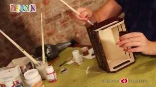 Декупаж деревянной коробки , кракелюр , материалы Decola