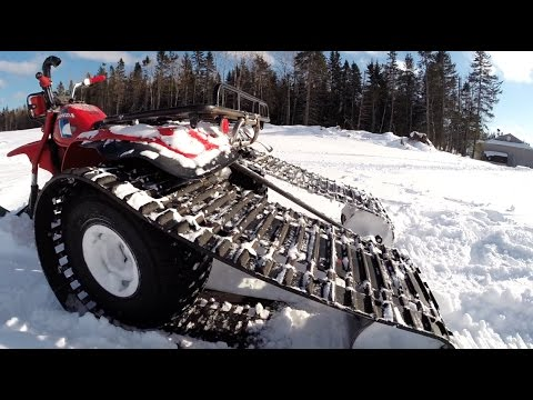 Custom Track Kit on 3 Wheeler ATC200E in Action - YouTube