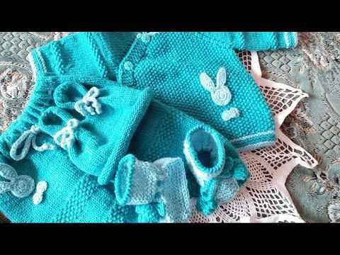#Вязание#детям#Комплект для детей от 0-3 месяцев вязаный спицами.