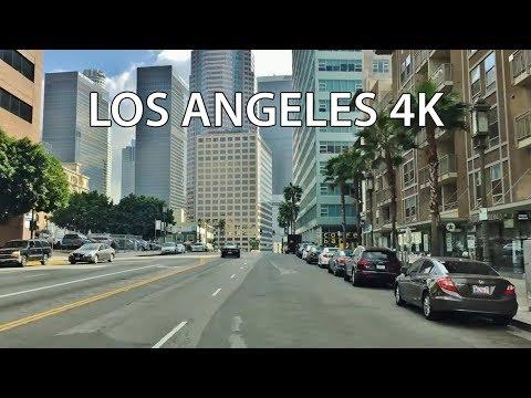 Driving Downtown - LA's Skyscrapers - Los Angeles California USA 4K