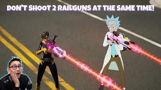 Don't shoot 2 railguns at the same time!