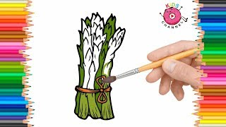 How to Draw Asparagus Asparagus | Coloring book | Coloring Pages for Kids |  Kids Channel