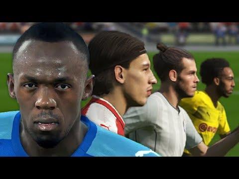 Usain Bolt Vs World's Fastest Football Players (PES 2018 Speed Test)