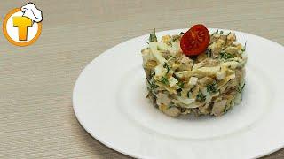 Куриный салат с грибами. Пошаговый рецепт.