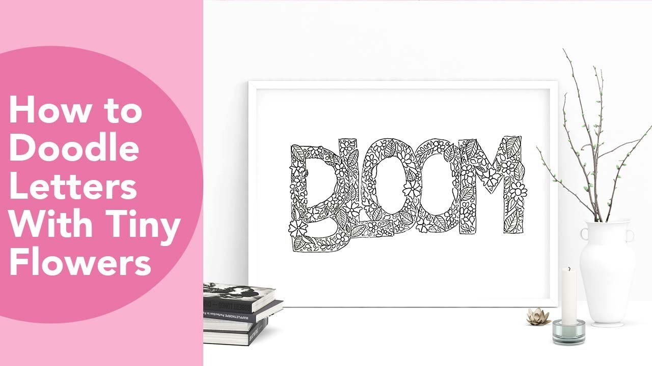 Doodle letter with tiny flowers, NEW Mono Drawing pens – Howtoshtab