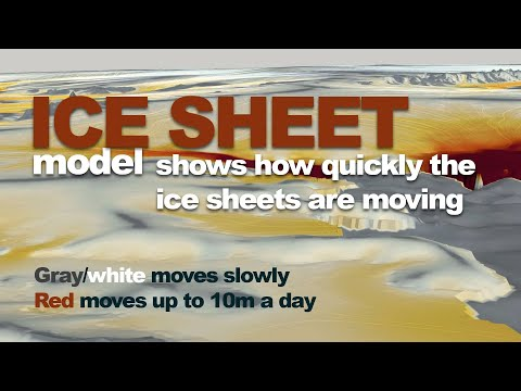 Ice sheet model shows the flow of ice across Antarctica