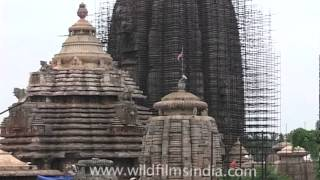 Lingaraj Temple under renovation in Bhubaneshwar, Orissa