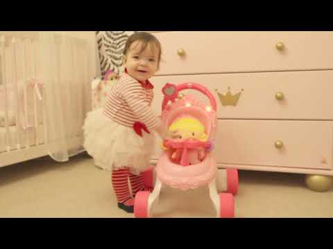 Cute Baby Play With Princess Chime Doll And Princess Mommy Stroll-Along Musical Walker