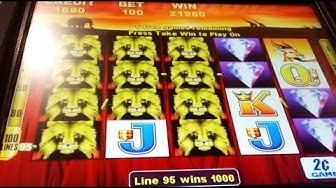 BIG WIN!!! 100 Lions Slot Machine-3 Bonuses @ $2.00 Bet