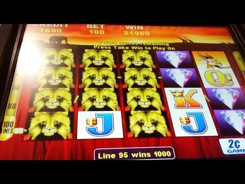 BIG WIN!!! 100 Lions Slot Machine-3 Bonuses @ $2.00 Bet