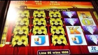 BIG WIN! 100 Lions Slot Machine-3 Bonuses @ $2.00 Bet