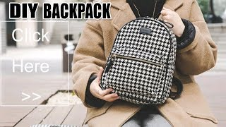 DIY LOVELY BACKPACK TUTORIAL // Zipper Backpack with Pocket From Scratch Cut & Sew