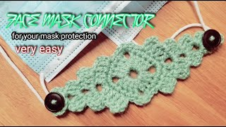 How to Crochet Face Mask Connector Ear Saver Adopter Band Eng Hindi Urdu DollyCraft