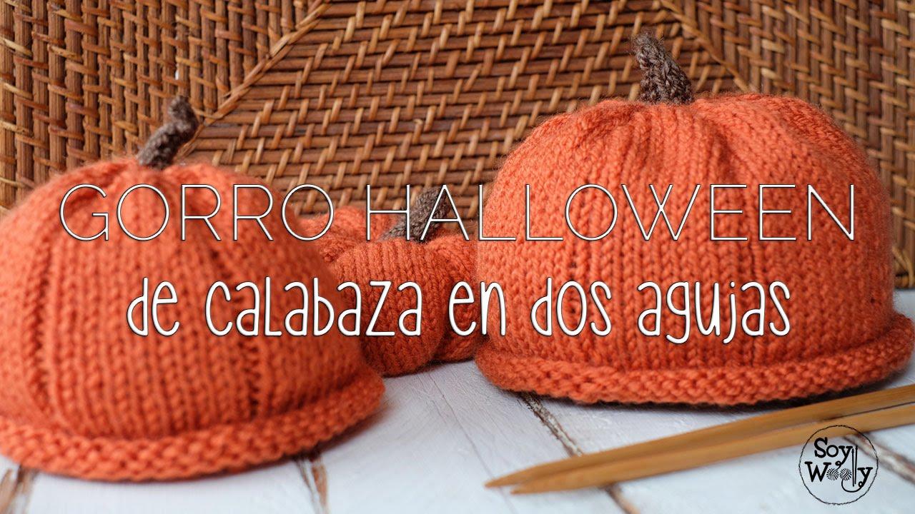 56b40e8913627 Teje un Gorro para Halloween en forma de Calabaza - YouTube